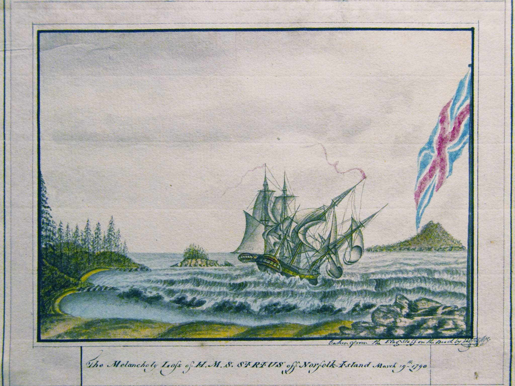 The Melancholy Loss Of HMS Sirius Off Norfolk Island March 19th 1790 George Raper