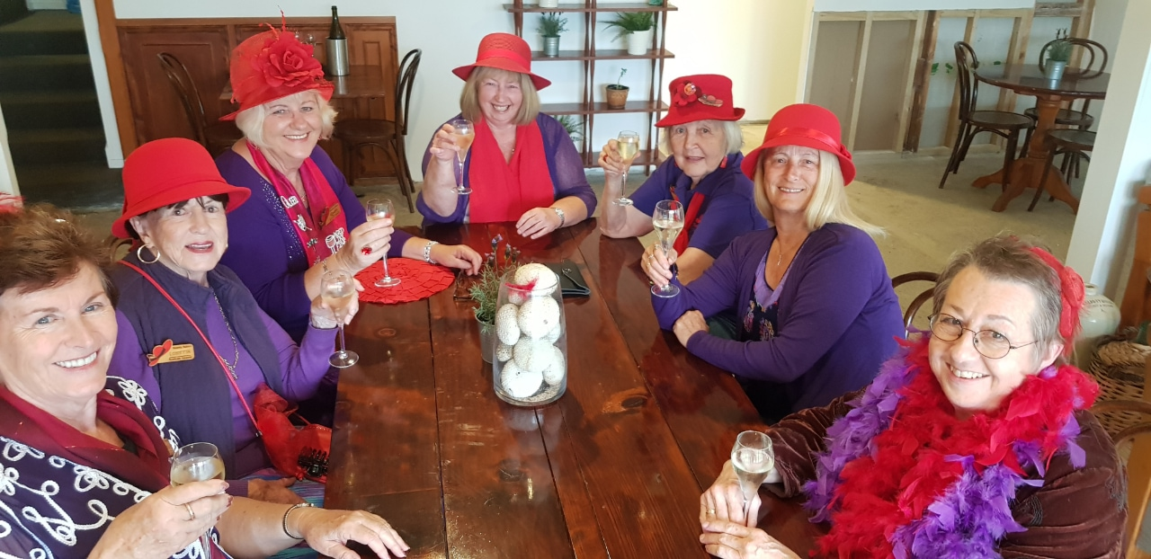 Meet the Local Red Hatters Chapter 'Bounty Babes' and their Queen 'Her Royal Highness Queenalee Rosalie Radiant Rose of Divinity'